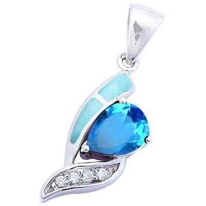 Natural Larimar & Blue Topaz 925 Sterling Silver Pendant - Jewelry Accessories Key Chain Bracelet Necklace - Baby Pendant Topaz Blue