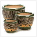 3Pc Ceramic Jade Garden Planters Flower Plant Pot Set