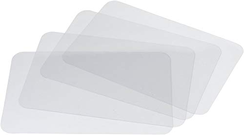 Wetop Translucent Plastic Placemats Set of 4 for Dining Table, Keeps Table or Desktop Cloth Cleaner, Washable, Heat Resistant, Non-Slip. - 【PERFECT PROTECTIVE】- Translucent placemats keep away from spills, stains and scratches for protect your table and scratches, moreover, show the beauty of your own table and fit any decorative color schemes. 【APPLICABLE OCCASIONS】- Placemats is perfect for dining table, hotel, restaurant, celebration, banquet and so on. And it can be rolled up to transfer of food to bowls and pans or stored in a small space. 【HEAT INSULATION】- Eco-friendly PP sheets, high tenacity, stability, heat resistance (up to 80°C), are built to last a long life span. - placemats, kitchen-dining-room-table-linens, kitchen-dining-room - 21Zp8fNPioL -