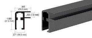 CRL Flat Black Aluminum Showcase 20'1'' Top Rail Extrusion - D3001FB