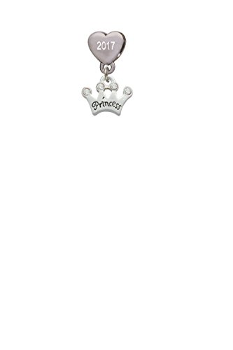 - Small ''Princess'' Crown with Clear Crystals Custom Year Stainless Steel Heart Bead Charm