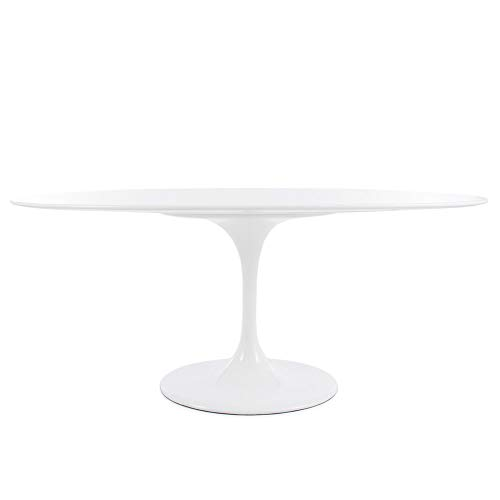 (Modern Onion Oval Tulip Dining Table Replica - White Laminate Top (78x47))