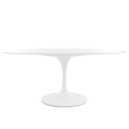 Modern Onion Oval Tulip Dining Table Replica - White Laminate Top - Tulip Knoll Saarinen