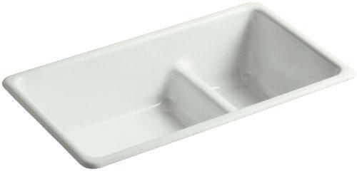 KOHLER K-6625-FF Iron/Tones Smart Divide Self-Rimming or Undercounter Kitchen Sink, Sea Salt