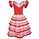 La Senorita Spanish Flamenco Dress Princess Costume - Girls/Kids - Red/White (Size 12-9 -10 Years, Red -