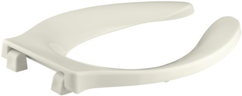 Strong Hold Elongated Toilet Seat (KOHLER K-4731-SC-96 Stronghold Elongated Toilet Seat with Self-Sustaining Check Hinge and Integrated Handle, Biscuit)