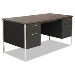Alera Double Pedestal Steel Desk, Metal Desk, Mocha/Black