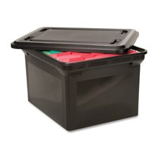 (Advantus 34052 File Tote Storage Box w/Lid, Legal/Letter, Plastic, Black)