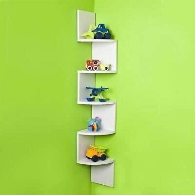 Wooden World Zig Zag Floating Wall Mount Corner Shelf Wooden Display Shelves Storage  White