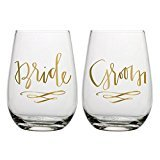 Slant Bride & Groom Stemless Wine Glasses- Set of 2 ()
