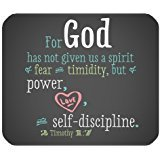Fashionable Unique Christian For God has not given us a spirit of fear timidity ,but power Durable Cloth Cover Rectangle Mousepad Mat 9.84 x 7.87 inch