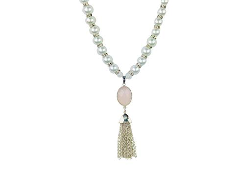 My Other Best Friend Dazzling White Pearl Pet Fashion Collar with Tasseled Rose Quartz Stone Charm The Voir la Vie