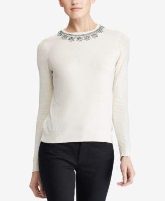 LAUREN RALPH LAUREN Womens Jeweled Knit Sweater White - Lauren Cardigans Women Ralph Sweaters
