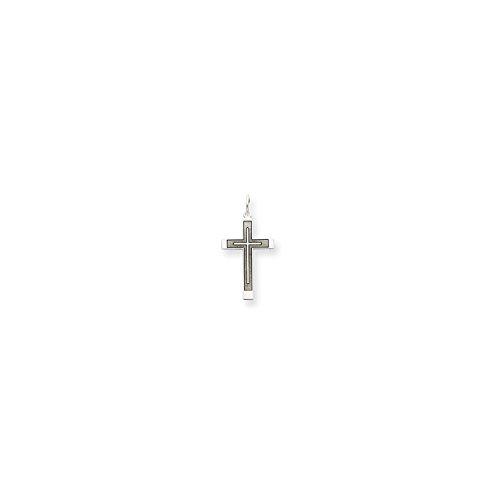 Roy Rose Jewelry 14K White Gold Laser Designed Cross Pendant 26mm (Mens 14k White Gold Designed)