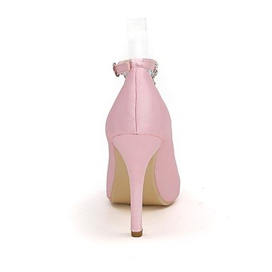 Wedding Shoes Null Women's Null Stiletto Summer purple Heel Spring Shoes Satin Pump Best Toe 4U Buckle Rhinestone For Wedding Basic Evening Party Peep vw5qExH