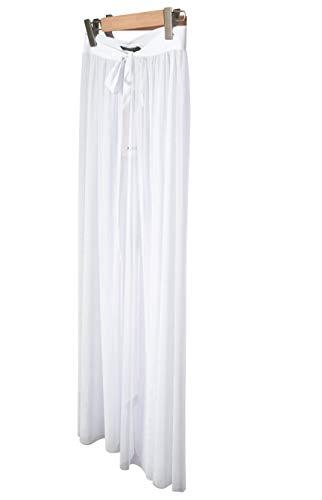 IRISIE Women Sexy Sheer Mesh High Waist Tie Waist Split Maxi Skirt (Small, White)
