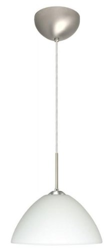 Besa Lighting 1JC-420107-LED-BR 1X6W GU24 Tessa LED Pendant with White Glass, Bronze Finish