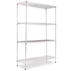 - (6 Pack Value Bundle) ALESW504818SR Wire Shelving Starter Kit, 4 Shelves, 48w x 18d x 72h, Silver