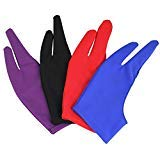 SNAGAROG 4PCS Tablet Glove Two-Finger Artist Glove Anti Foul