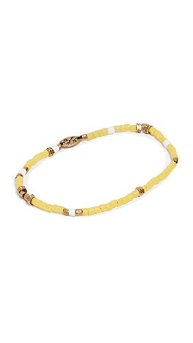 (Giles & Brother Men's Tiny Vintage African Bead Bracelet, Yellow, One Size)