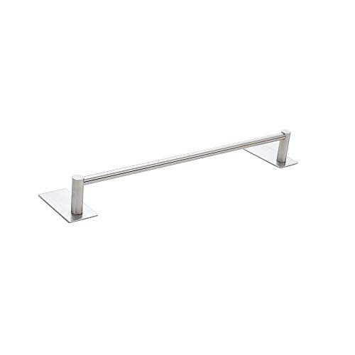 Togu 27.5 inch Self Adhesive Single Towel Bar Heavy Duty SUS 304 Stainless Steel, Stick on Bathroom Lavatory with Square Base Hanging Towel, Brushed Stainless Steel Finish