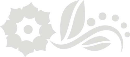 WANDTATTOO / Wandaufkleber f33 wundervolles Sonnenblümchen mit Blättchen 80x35 cm - silber