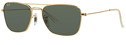 Ray-Ban RB3136 001 Caravan Sunglasses Gold Frame / Green Classic Lens ()