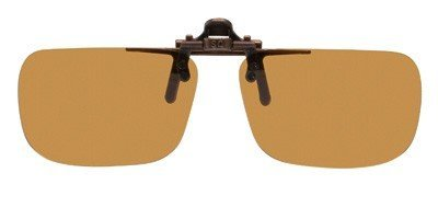Polarized Clip on Flip up Plastic Sunglasses, Rectangle, 52mm Wide X 35mm High (117mm Wide), Polarized Brown Lenses by - Vs Lenses Glass Plastic