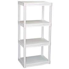 Plano 4-Tier Heavy-Duty Plastic Shelving, White - Stores Mall Plano