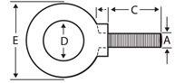 7/8-Inch Machinery Lifting Eye Bolt - 2 -1/4 Inch Shank Length (7/8-9 UNC Thread) - Forged Steel