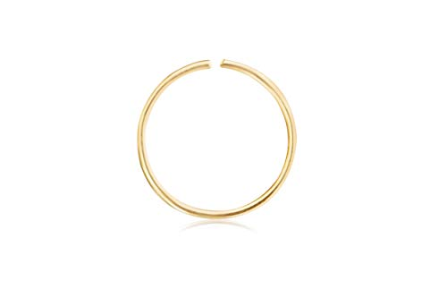 10K Solid Gold Jewelry 6mm Open Round Circle Tragus Cartilage Snug Rook Daith Helix Ear Nose Lip Hoop Ring Piercing Earring For Women