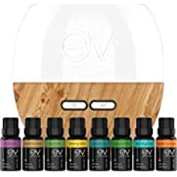 Earth Vibes Aromatherapy Top 8 Pure Essential Oil and Ultrasonic Diffuser Gift Set -(200ml Tank & 8 Oils)- Peppermint, Tea Tree, Rosemary, Frankincense, Lemon Grass, Sweet Orange, Lavender, Eucalyptus