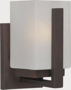Forte 5087-01-32 One Light Bath Bracket, Antique Bronze Finish Square Satin White Glass