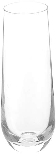 Circleware 55502 Downtown Stemless Champagne Flute Glasses Set of 4, Elegant All-Purpose Wine Drinking Glassware Beverage Cups for Water, Juice, Beer, Liquor, Whiskey & Home Bar Decor, 10.5 oz, Clear ()