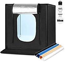 【2020最新版】撮影ボックス 60cm 簡易スタジオ Amzdeal 折り畳み式 LEDライト 5500LM 6500K 高輝度 4色背景布(黒・白・黄・青) 多角度対応 収納袋 電源アダプタ付き 携帯便利&組立簡単&収納便利