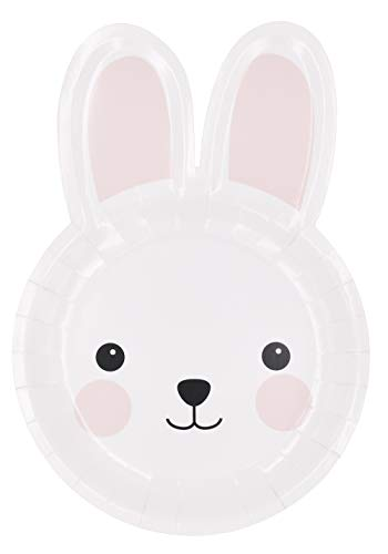 Zealax Bunny Party Paper Plates 16ct - Bunny Shaped Plates Disposable Dinnerware for Kids Party Decoration, - Plate Easter
