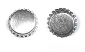 Bottle Cap Co 100-Piece Crown Bottle Caps, Shiny Silver Linerless -