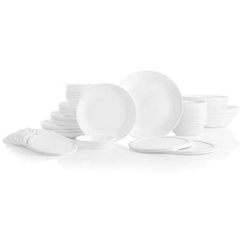 CORELLE 78-Piece Service for 12, Chip Resistant, Winter Frost White Dinnerware Set,