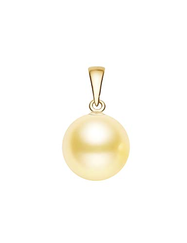 (8-9mm Champagne Colored South Sea Cultured Pearl Pendant AA+ Quality 14K Yellow Gold)