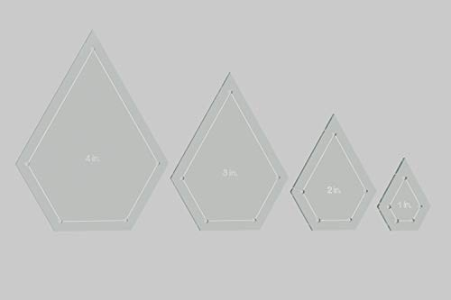 """Jewel Quilting Template Set, 4"""", 3"""", 2"""", 1"""" with 1/4"""" Seam Allowance"""