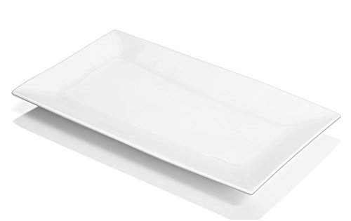 DOWAN 14-inch Porcelain Serving Platters/Dinner Plate Set - 3 Packs, White & Rectangular