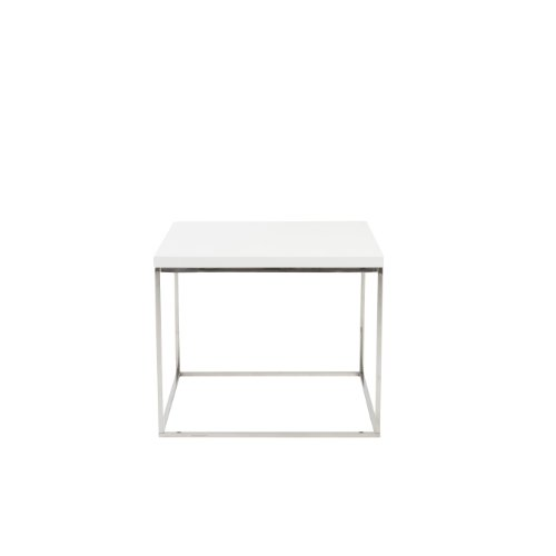 Euro Style Teresa Rectangular Lacquer Top Side Table, White with Polished Stainless (Euro Style Side Table)