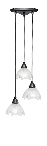 Toltec Lighting 28-MB-755 Europa 3 Multi-Light Mini Pendant with Gold Ice Glass, 7