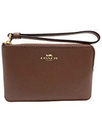 COACH Corner Zip Wristlet in Crossgrain Leather in Saddle 2 ()