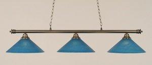 Toltec Lighting 373-BN-415 Oxford - Three Light Billiard, Brushed Nickel Finish with Blue Italian Glass