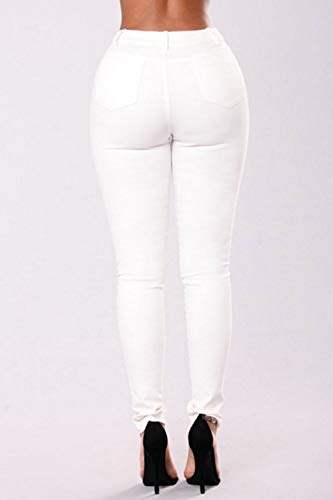Lunghi Tasca White Jeans Pantaloni Yulinge Floreale Donne Strappati Le Skinny Con cF0wRzSvg
