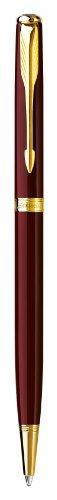 Parker - Sonnet 07: Laque Deep Red Slim GT Ballpoint, Gold Trims, Twist Mechanism.