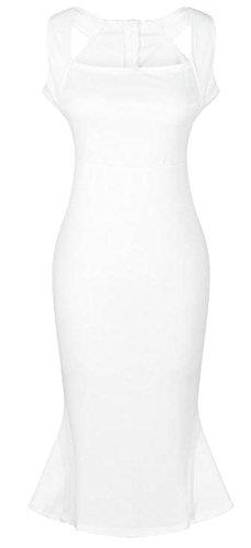 Sleeveless White Evening Elegant Midi Mermaid Dress Bodycon Party Womens Cromoncent PRqZnxUBfw