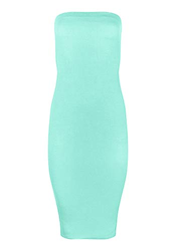 FASHION BOOMY Women's Strapless Stretchy Comfort Basic Midi Tube Bodycon Dress (X-Large, Turquoise)