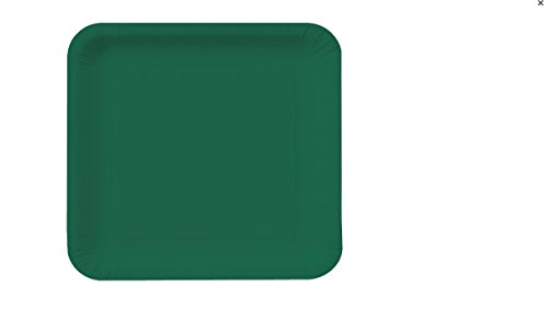 (Creative Converting Touch of Color 36 Count Square Paper Lunch Plates, Hunter Green)